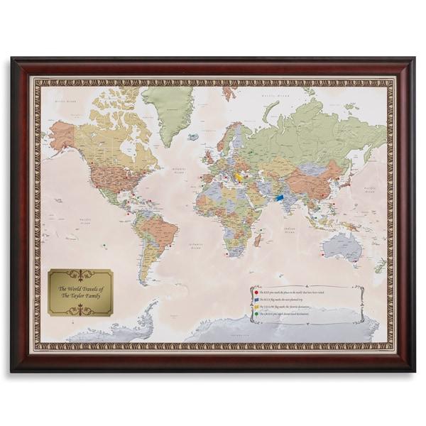 Personalized world traveler map set framed with pins at acorn ha9222 personalized world traveler map set framed with pins gumiabroncs Image collections