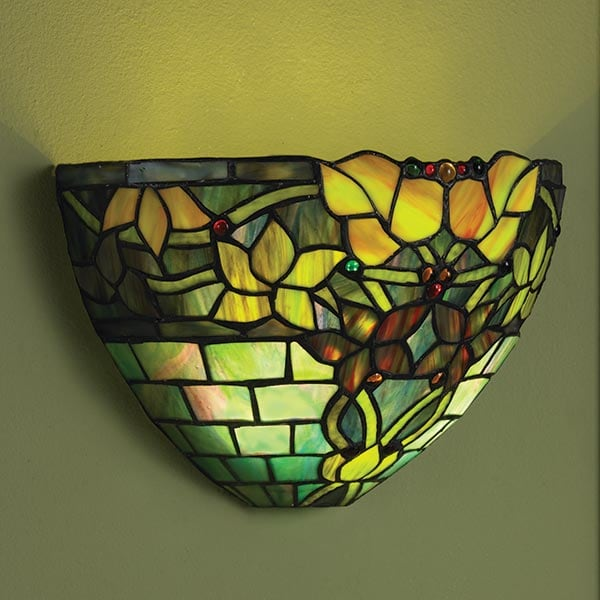 Art Gl Wall Sconce Battery Operated With Remote Control Jewel Tones 5 Reviews 4 8 Stars Acorn Hp1702