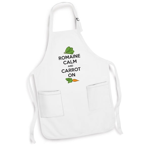 White Kitchen Apron romaine calm and carrot on apron with cooking pun in white at
