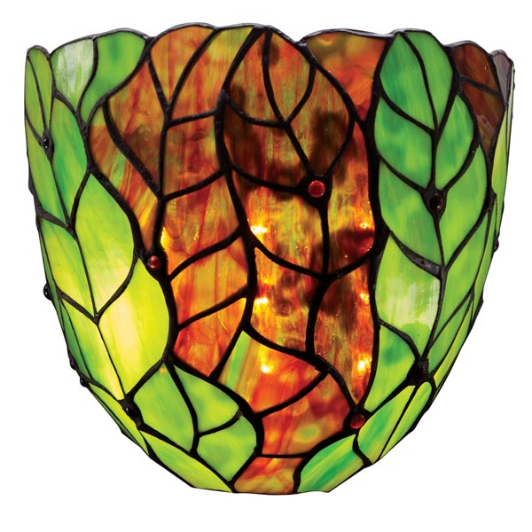 Art Glass Battery-Operated Wall Sconces - Green Leaves at Acorn | HP9052