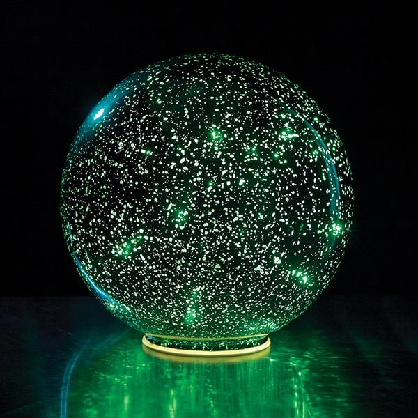 Mercury Glass Sphere 8 Quot Or 5 Quot Lighted Ball In Green