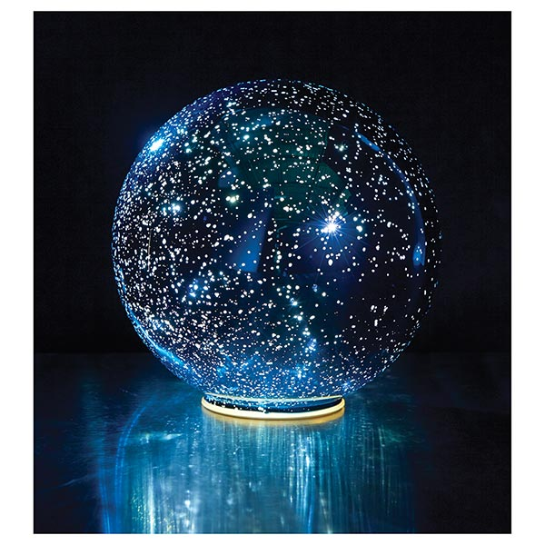 Lighted Mercury Glass Sphere 8 Or 5 In Blue Battery