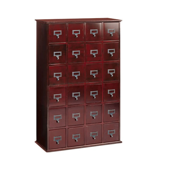 Oak Library Card File Storage Cabinet   4 Column