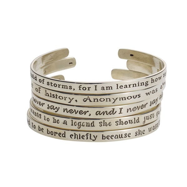 Sterling Silver Famous Quotes By Women Cuff Bracelets At