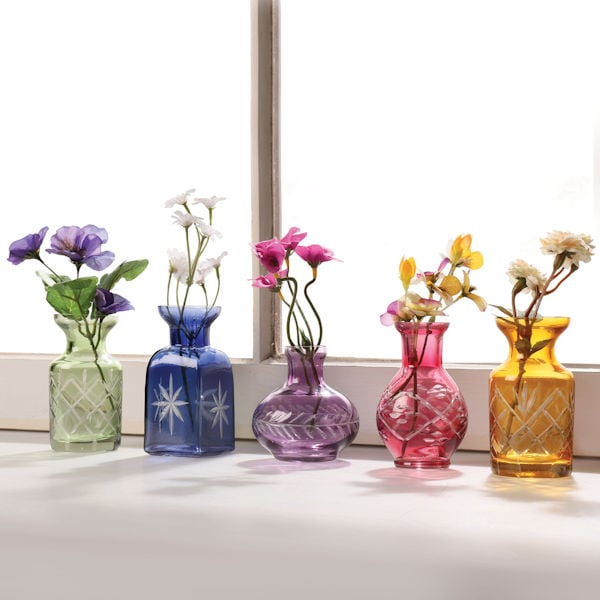 225 & Petite Glass Vases Set - Set of 5