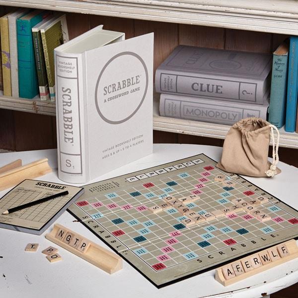 Vintage Bookshelf Board Games Scrabble