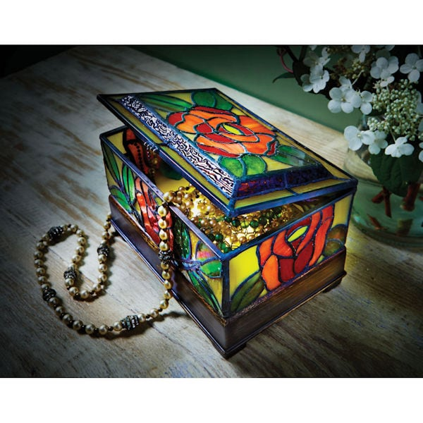 Stained Glass Roses Light Up Jewelry Box Acorn Xb4192