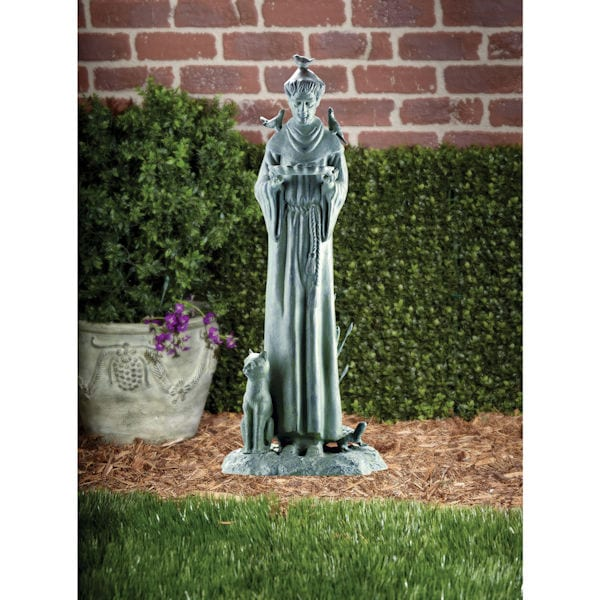 Ordinaire St. Francis With Cat Garden Sculpture