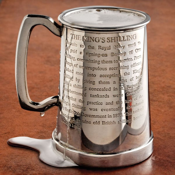 taking the king s shilling glass bottom tankard without initials