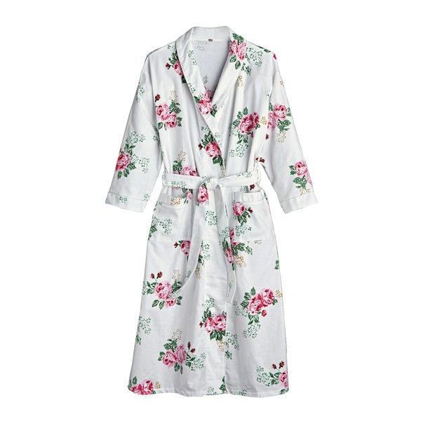 b381454cbf89 Rose Print Flannel Robe - 3/4-Length Sleeve White Floral Kimono   2 Reviews    5 Stars   Acorn   XC2392