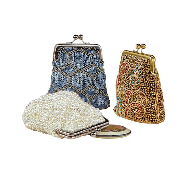 Women's Beaded Kiss Lock Clasp Bags - Decorative