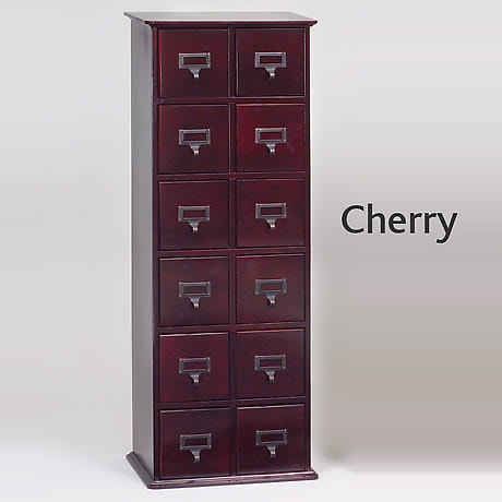 Oak Library Card File Storage Cabinet - 2 Column