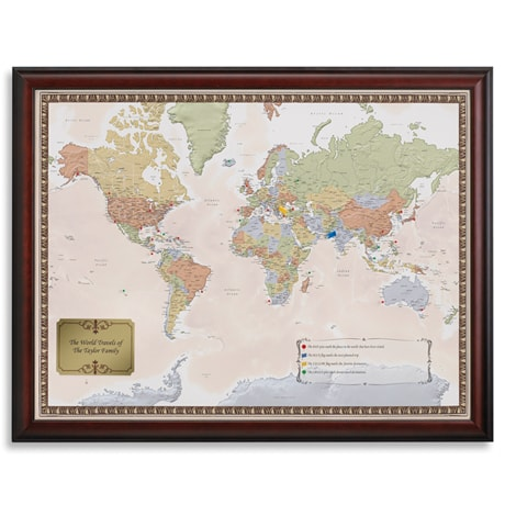 Personalized World Traveler Map Set Framed with Pins