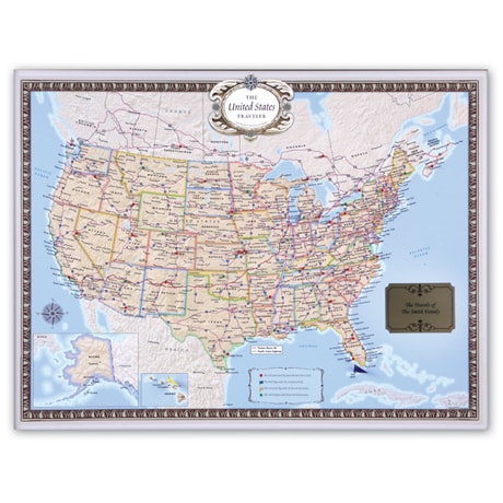 Personalized USA Traveler Map Set - Unframed