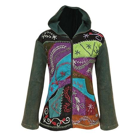 6e36a0b9fd92 ... Embroidered Full-Zip Hoodie Sweatshirt Women s Patchwork Folk Art  Design ...