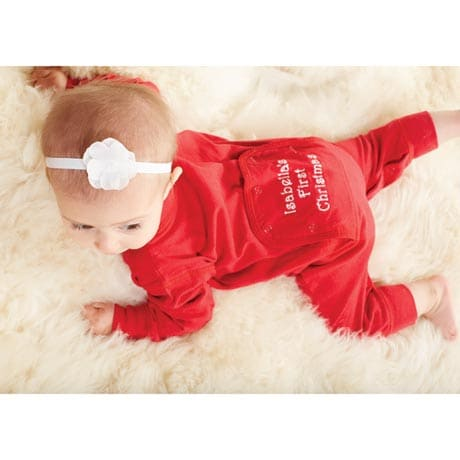 personalized babys first christmas long johns infant pajamas