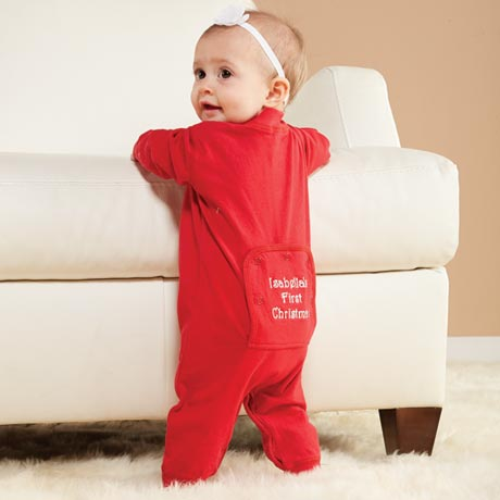 Personalized Baby's First Christmas Long Johns Infant Pajamas