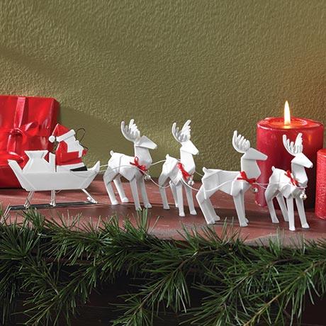 Porcelain Origami Santa Sleigh