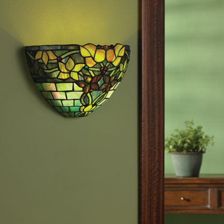 Art Glass Wall Sconce Battery Operated with Remote Control - Jewel Tones