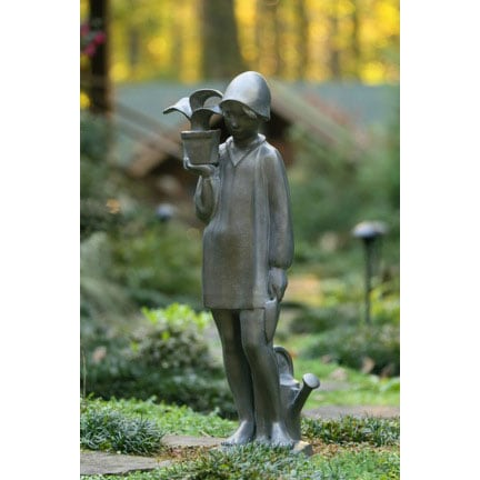 "Little Gardener Lawn Sculpture 38"" Bronze Finish by Sylvia Shaw-Judson"