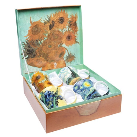 Bone China Van Gogh Mugs Set of 4 in Vibrant Colors