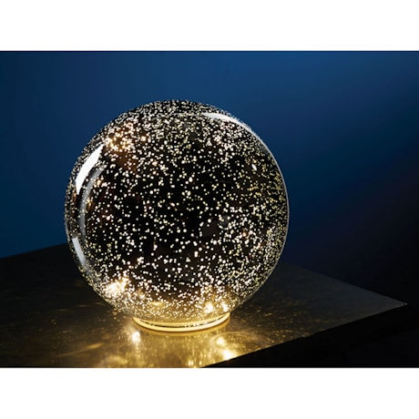 "Lighted Mercury Glass Sphere 8"" or 5"" Ball in Silver - Battery Operated"