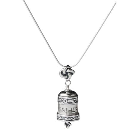 Personalized Sterling Silver Bell Necklace