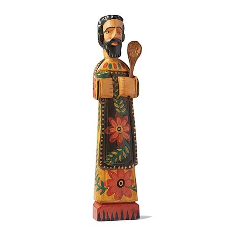 "Patron Saint of Cooks Sculpture Hand Carved Wood 15"" High"