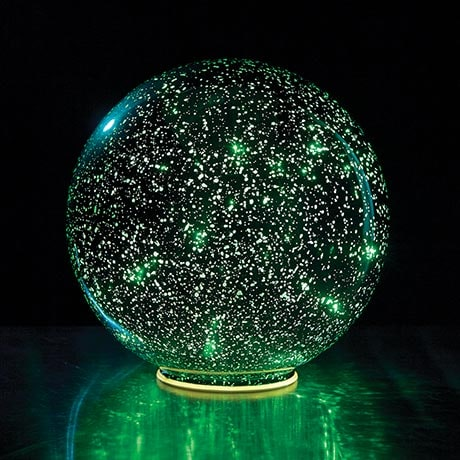 "Mercury Glass Sphere 8"" or 5"" Lighted Ball in Green - Battery Operated"