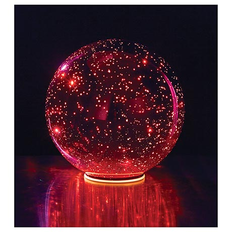 """Lighted Mercury Glass Sphere 8"""" or 5"""" Ball in Red - Battery Operated"""