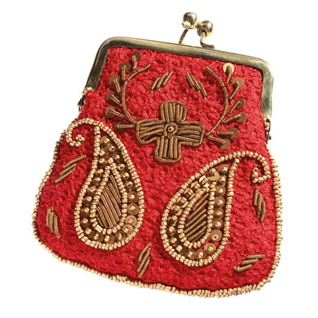 Embroidered Kiss Lock Coin Purse - Red