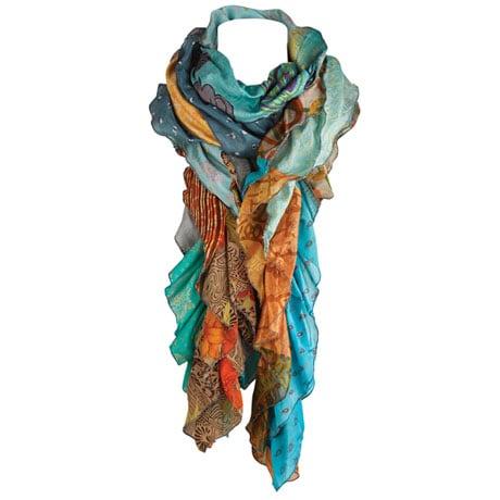 Repurposed Saris Ruffled Scarf