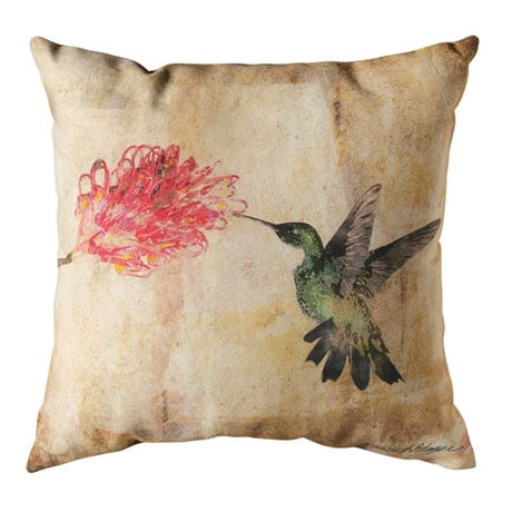 Watercolor Hummingbird Indoor/Outdoor Pillows - Floral