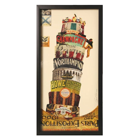 Handmade Framed Leaning Tower Collage Wall Art