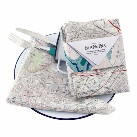 Map Set of 4 Cotton Napkins