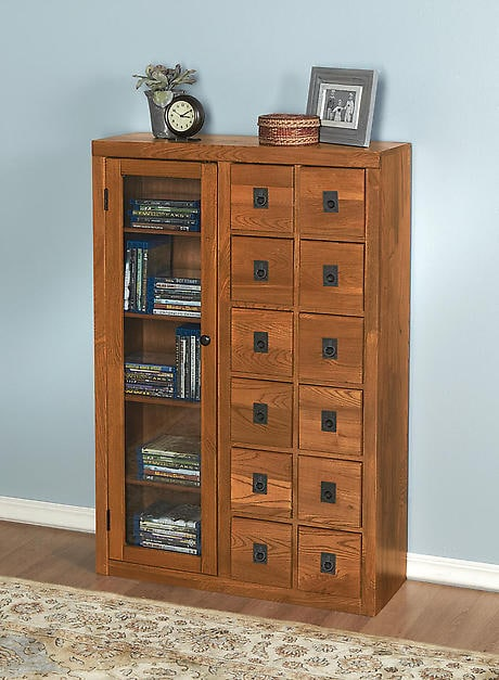 Solid Oak Mission-Style Multimedia Storage