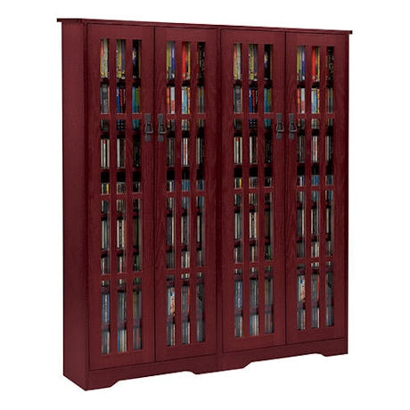 Mission Style Media Storage Cabinet: 4-Door