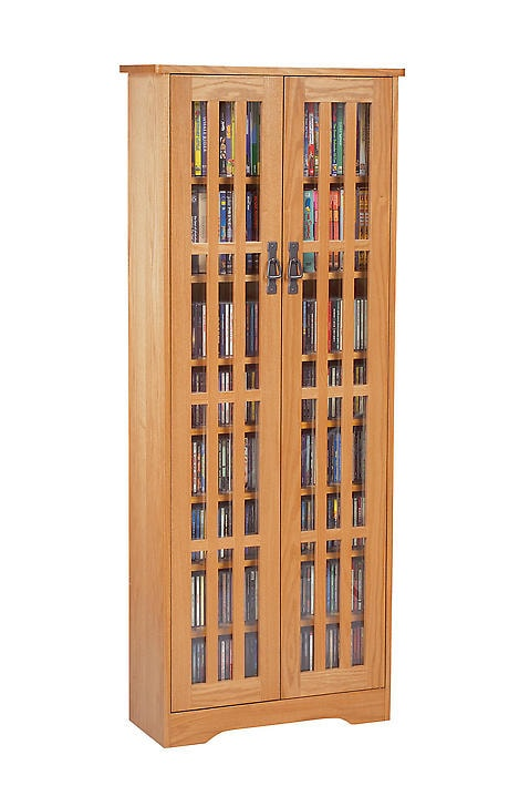 Mission Style Media Storage Cabinet: 2-Door