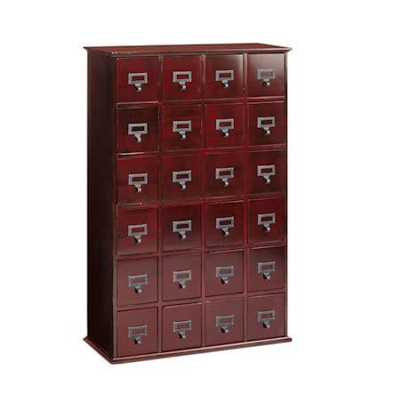 Oak Library Card File Storage Cabinet - 4 Column