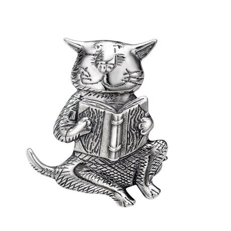 Edward Gorey Sterling Silver Cat and Book Pin