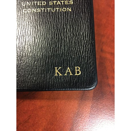 Leatherbound Pocket-Size US Constitution (Embossed 3 Initials)