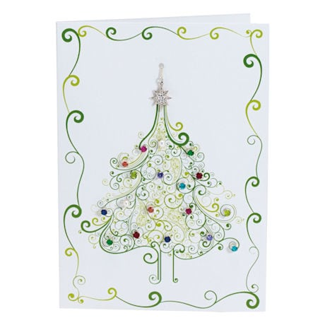 Christmas Tree Crystal and Pearl Earrings & Pendant Card