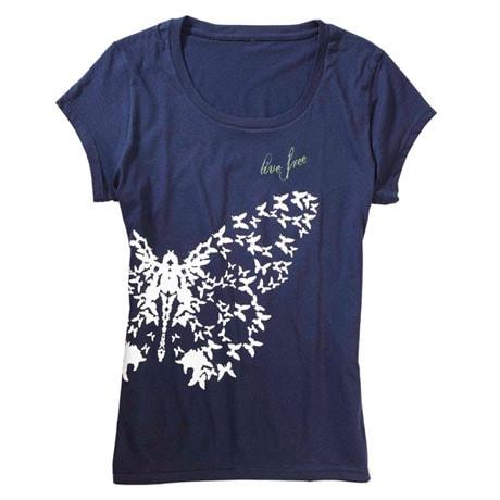 Live Free Butterfly Print Shirt