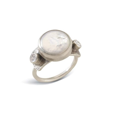 Pearl and White Zircon Coin Pearl Ring