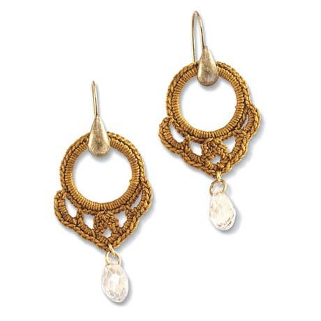 Crochet Hoop Earrings - Gold