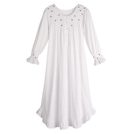 Women's Petite Rosebuds White Cotton Nightgown