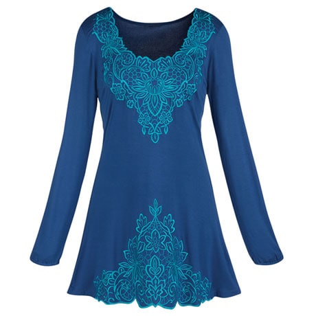 Tone-On-Tone Embroidered Tunic Top
