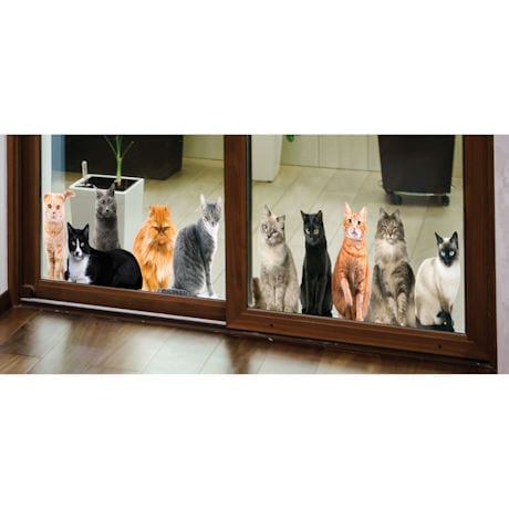 Cat House Window/Door Clings: Lying Down & Sitting