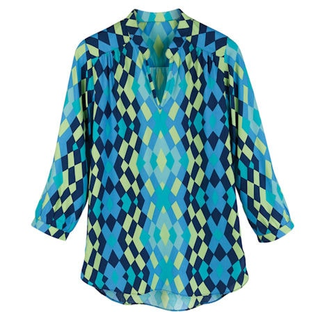 Aegean Blue Origami Tunic Top