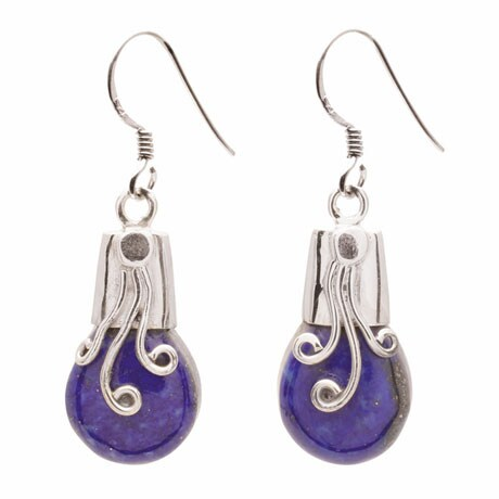 Lapis Swirl Sterling Earrings